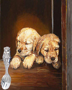 Puppies with Reed and Barton Monkey Spoon