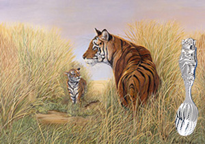 Playtime -Dad-tigers with Silver plated Baby Spoon