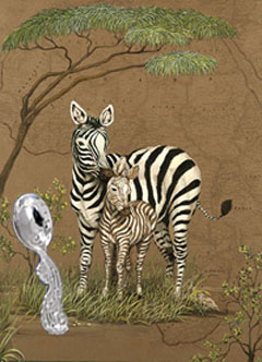 Mother Africa-Zebras with Seahorse Spoon
