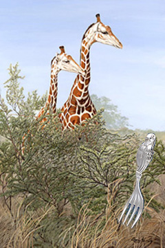 Look! Tourisys-giraffes with Silver Olated Baby Fork