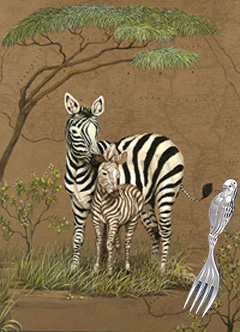 Mother Africa-Zebras with Baby Fork in silver