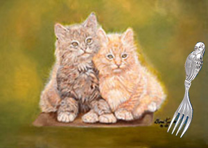 Double Trouble Kittens with Baby Fork