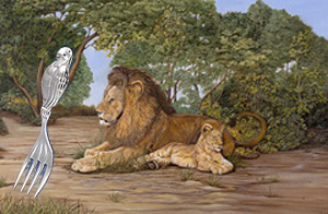 The Heir Apparent-Lions with silver Parrot Fork for baby