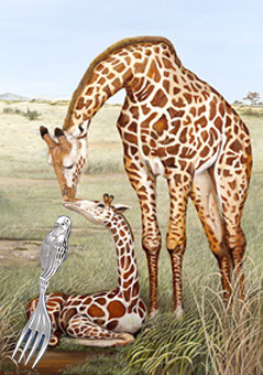 Mother's Touch-giraffes with silver Baby Fork