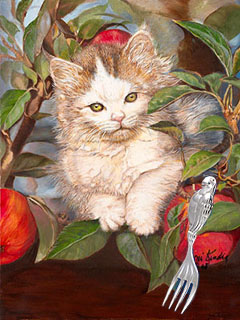 Kitten up a Tree with silver Parrot Safari Fork