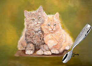 Double Trouble Kittens with Reed and Barton Whale Baby Feeding Spoon