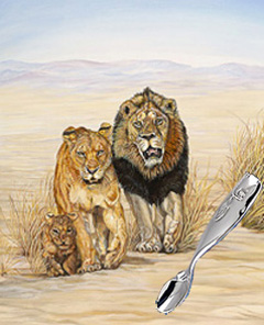 On the Move-Lion Family with Stainless Steel Baby Feeding Spoon