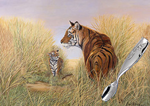 Playtime-Tigers with Stainless Feeding Spoon-a whale