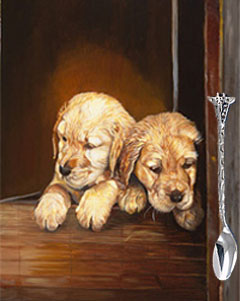 Puppies, fine art print with silver Giraffe feeding spoon