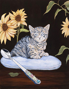 Brand New Kitty, giclee print on canvas, with Jillery Feeding Spoon