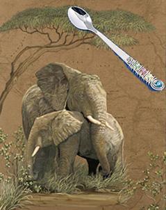 Mother Africa-Elephants, fine art print, wih the Jillery Feeding Spoon