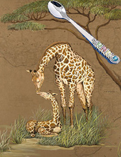 Mother Africa-Giraffes, fine art print wih Jillery Feeding Spoon