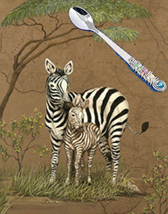 Mother Africa-Zebras, fine art print, with Jillery Feeding Spoon