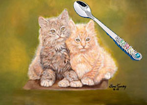 Double Trouble-Kittens, fine art print, with Jillery Feeding Spoon