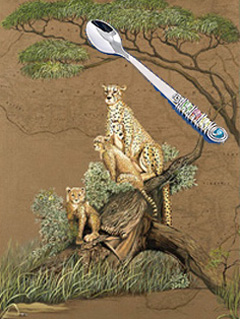 Mother Africa-Cheetahs, giclee print on canvas, with Jillery Feeding Spoon