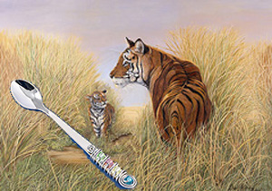Playtime with Dad-Tigers, giclee canvas print, with Jillery Feeding Spoon