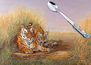 Playtime with Mom-Tigers, fine art print, with Jillery Feeding Spoon