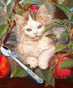 Kitten Up a Tree, fine art print, with Jillery Feeding Spoon