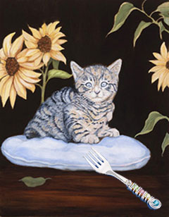 Brand New-Kitty, fine art print on canvas, with Jillery Fork