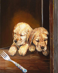 Puppies, giclee print on canvas, with Jillery fork