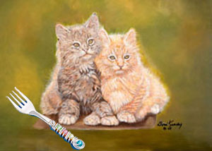 Double Trouble-Kittens, Giclee print, with Jillery Fork