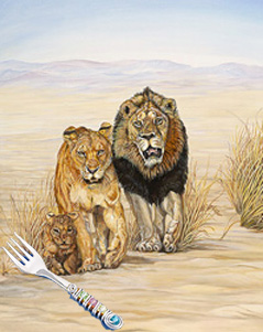 On the Move-Lion Family, fine art print, with Jillery Fork
