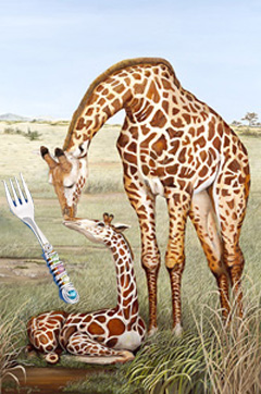 Mother's Touch-Giraffes with  Jillery beaded Spoon