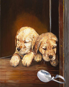 Puppies, giclee print on canvas, with Sterling Silver Bent Handle Baby Spoon