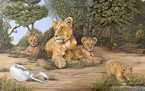 Babysitting-Lions, fine art print with Sterling Silver Bent Handle Baby Spoon