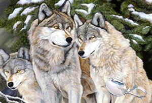 Caring-Wolf Family, fine art print on canvas, with strling silver bent handle baby spoon