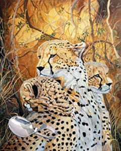 Cheetah Family,fine art print, with Sterling Silver Bent Handle baby spoon