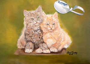 Double Trouble-Kittens, fine art print, with Sterling Bent Handle Baby Spoon