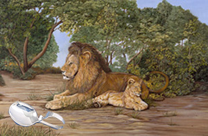 Heir Apparent-Lions, fine art print,with SS Bent Handle Baby Spoon