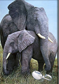 Mother Love-Elephants, giclee Print, with Silver Bent Handle Baby Spoon