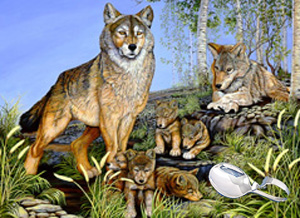 Proud Parents-Wolf Family, fine artprint, with Sterling Bent Handle Baby spoon