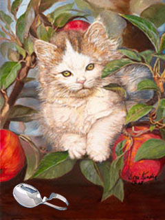 Kiten Up a Tree, gicle print on Canvas, with Silver Bent Handle baby spoon