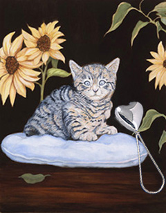 brand New-Kitty, fine art print, with Sterling Heart Shape Rattle
