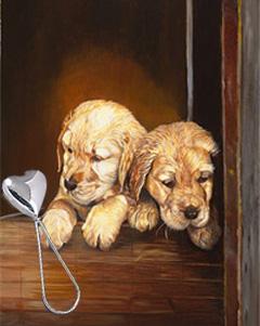 Puppies, giclee print, with Silver Heart Shape Rattle