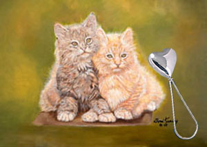 Double Trouble-Kittens, fine art print on canvas, with Sterling Silver heart shape Rattle