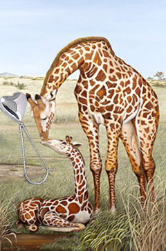 Mother's Touch-Giraffes, fine art print, with Sterling Heart Shaped Rattle