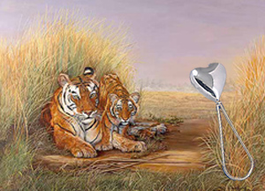Playtime with Mom-Tigers, fine art print, with Sterling Heart Shaped Rattle