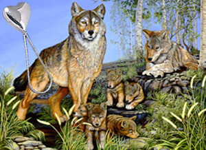 Proud Parents-Wolf Family, fine art print, with Sterling Heart Shaped Rattle