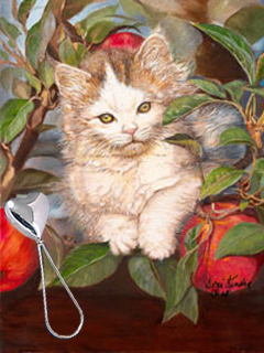 kitten Up a Tree, giclee print, with a silver Heart Shaped Rattle