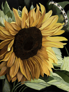 Sunflower, fine art print on canvas with Bracelet ofSapphires, pave CXs set in gold vermeil
