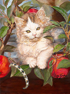 kitten Up a tree, fine Art print, with Gold Vermeil Braceley with Faux Sapphires and pave CZ