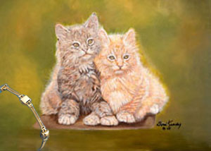 Double Trouble-Kittens giclee print on canvas, with Gold Bracele of Pillow Square and 2 Strand Rope Links
