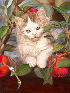 Kitten Up a Tree, fine art print, with Gold Bracelet of Pillow Square and 2 Strand Rope Links