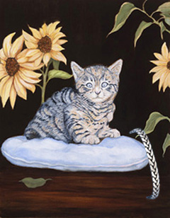 Brand New Kitty, fine art print, with Pewter Herringbone Bracelet