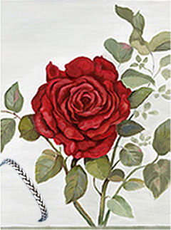 Red Rose, Fine Art Print, with Pewter Herringbone Bracelet