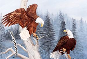 The ChallengeBald Eagles, Giclee Print, with Pewter Herringbone Bracelet